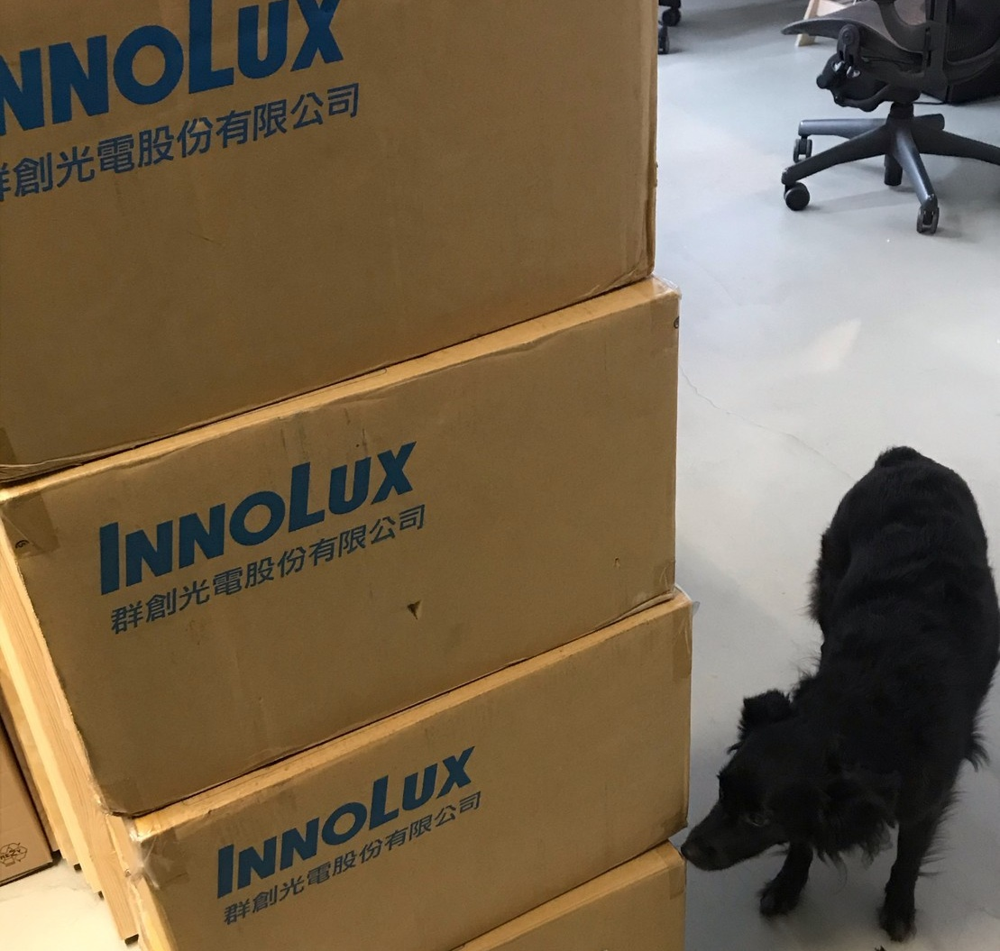 Innolux display panel boxes and Tina, the MNT Research dog